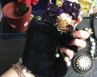 Bling Purple Soft Fluffy Fur Furry Sparkly Lovely Flower Pearls Tassel Crystals Gems Rhinestones Diamonds Hard Cover Case for Mobile Phones