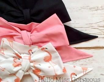 Gorgeous Wrap Trio (3 Gorgeous Wraps)- Noir, Dusty Rose & Mingo Love Gorgeous Wraps; headwraps; fabric head wraps; bows
