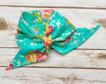 VINTAGE TURQUOISE FLORAL Gorgeous Wrap- headwrap; fabric head wrap; floral head wrap; boho; newborn headband; baby headband; toddler bow