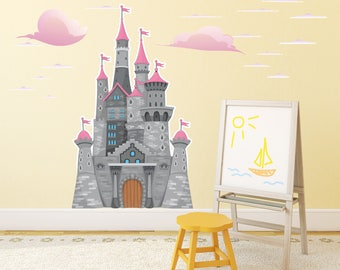 Princess Castle Wall Sticker / Kids Large Castle Wall Decal / Large Castle Wall Sticker / Girls Castle Removable Wall Sticker - WDDASA10051