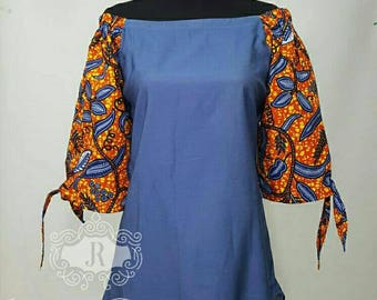 African clothing patchwork chambray denim Ankara off shoulder top  Ankara top denim blouse African women clothing