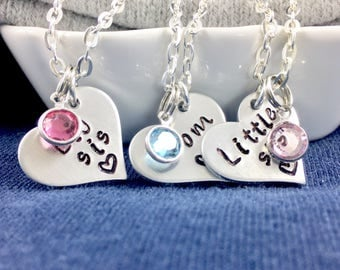 Sister mom necklace, Mother daughter necklace set, Mom and daughter necklace set, Mom daughter necklace, Sister mom jewelry, Birthstone