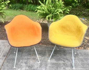 Set of Eames for Herman Miller Upholstered Shell Chairs