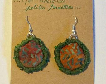 Earrings Orange and green banker leaves BO5.17