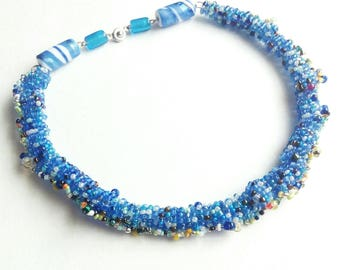 Blue beaded necklace unique beadwork seed beads handmade gift for her blue beadwork seed beads handmade gift for her gift for mom little