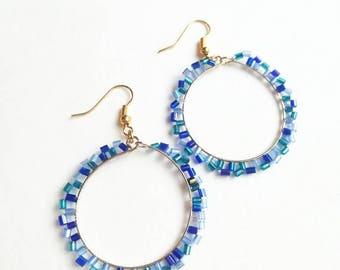 Blue beaded earrings fashionable handmade long exclusive earrings,orange creamy unique beaded fashionable handmade long exclusive earrings