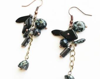 Grey Czech glass beads earrings boho medium long bronze handmade earrings black earrings handmade Czech glass beads earrings gift for her