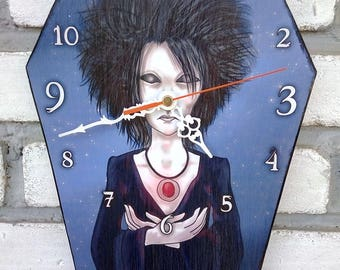 Wooden wall coffin-clock - Morpheus (Sandman comic). Handmade wall clock. Coffin shaped. Gothic decoration. Comic clock