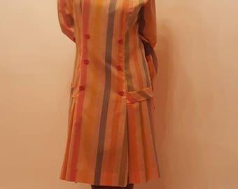 70s Vintage striped drop-waist dress