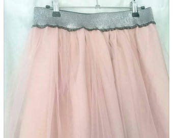 Old pink tulle skirt - silver wide elastic