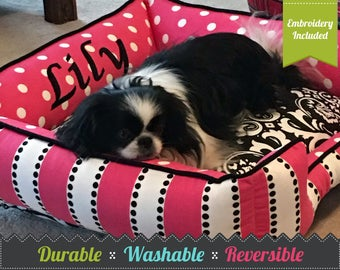 Small Dog Bed | Personalized Dog Bed | Pink Polka Dot Dog Bed | Washable Dog Bed | Comfortable Dog Bed | Cat Bed | Personalized Pet Bed |
