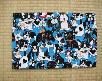 french bulldog fabric 1/2 yard blue