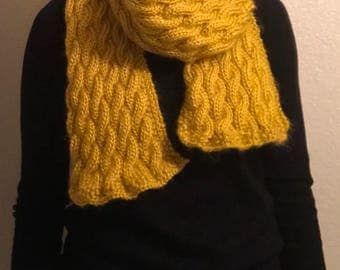 Yellow Cable Knit Scarf