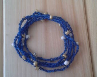 Crochet Royal Blue Bracelet or Necklace with Gold and White Beads