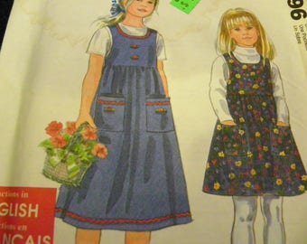 Sewing Pattern - It's So Easy It's Simplicity For Kids 8340 - Child's Jumper Dress - Size A 3 - 4 - 5 - 6 - 7 - 8