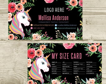 PRINTABLE My Sizes Card Size Cards Business Card Business Cards Home Office Approved Colors, Unicorn and Flowers, Digital File LLR031