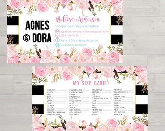 PRINTABLE Agnes and Dora My Sizes Card, Size Cards, Business Card, Business Cards, Digital File AG028
