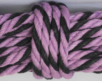 Black & Purple Hemp Bondage Rope Shibari Rope
