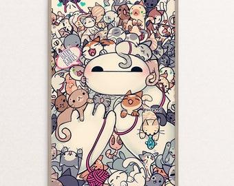 Hairy Babies Baymax | Cats | Kitties | Kitten |Wall Art| Poster | Print | Anime