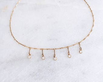Delicate Gold Necklace, Swarovski Necklace, Boho Necklace, Statement Necklace, Dainty Necklace, Layering Necklace, Gold Filled