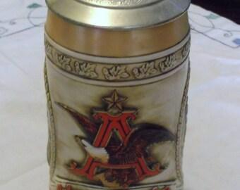 1990 Budweiser Anheuser Busch Inc King of Beers Lidded Ceramic Stein