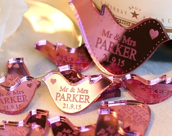 Personalised Wedding Table Scatter Mr & Mrs Doves Wedding Table Decoration Favours, Centrepiece confetti, Dove Favor, Table Decor