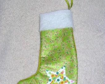 Christmas green fleece and felt boots