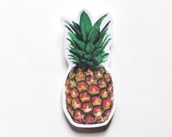 Pineapple sticker, Fun Cute Positive Laptop Sticker, Watercolor Illustration, Trees