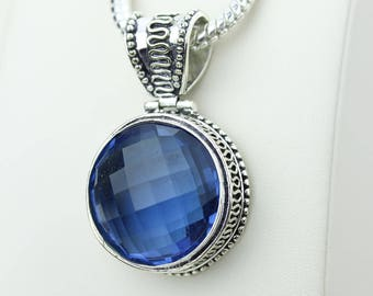 Unique Vintage Setting London Blue Topaz 925 S0LID Sterling Silver Pendant + 4MM Snake Chain & Worldwide Shipping p4226