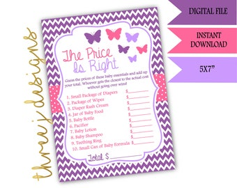 Butterfly Baby Shower The Price Is Right Game - INSTANT DOWNLOAD - Purple and Pink - Digital File - J002