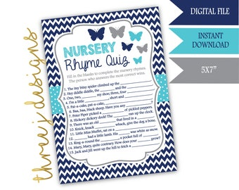 Butterfly Baby Shower Nursery Rhyme Game - INSTANT DOWNLOAD - Navy Blue, Teal and Gray - Digital File - J007
