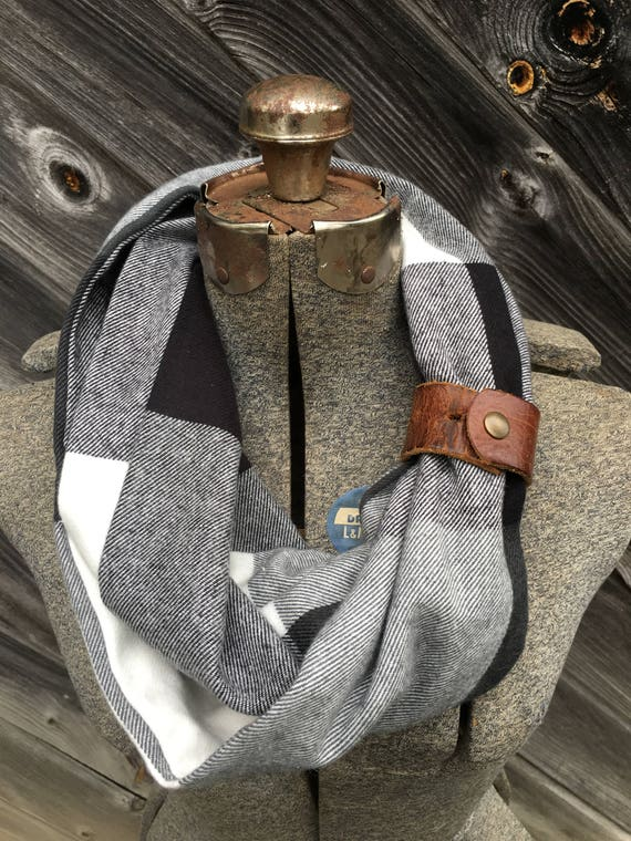 Black, gray and white large buffalo plaid check flannel eternity scarf with a brown leather cuff - soft, trendy