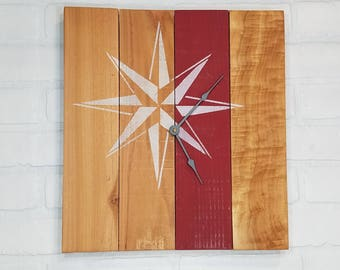 Medium Wood Wall Clock - Red Stripe Star