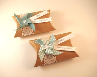 Box dragees kraft lace + windmill Mint - thank you welcome birthday gift, baptism, wedding