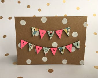 Bright floral kraft Happy Birthday greetings card- handmade and totally unique.