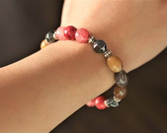 Stone bracelet, hematite and natural stone beads