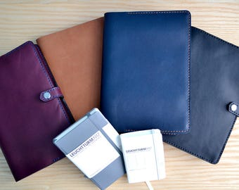 Leuchtturm 1917 leather cover | snap closure, 4 Horween leather colours, all sizes | Journal refillable sleeve | leather notebook