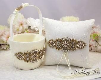 Flower Girl Basket and Ring Bearer Pillow , Gold and Ivory Flower Girls Basket, Wedding Basket, Ivory flower Girl basket, wedding ideas,