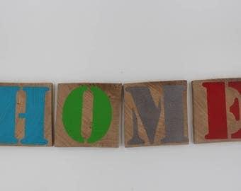 Scrabble style oak wooden Word HOME