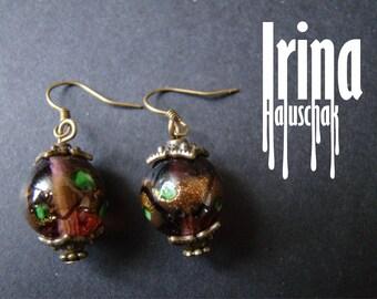 Venetian glass beads earrings Bead earrings Boho style Boho earrings Vintage style glass earrings Handmade lampwork earrings