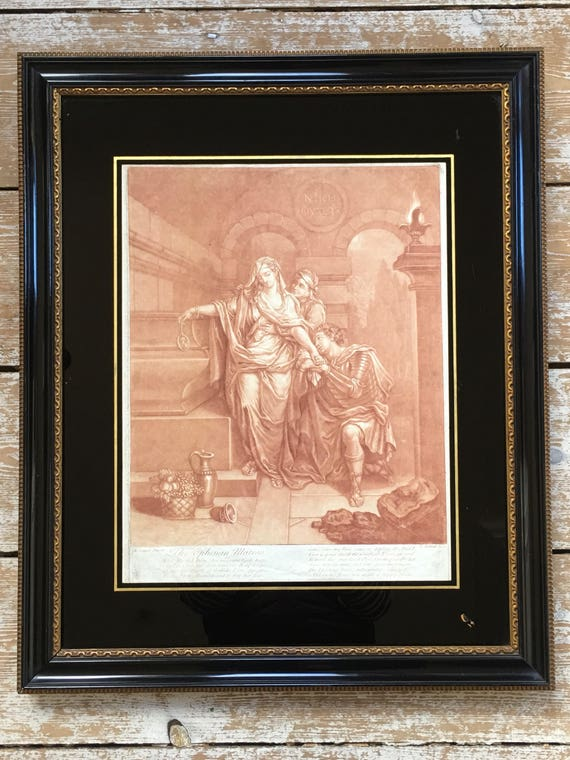 Late 18th century etching of 'The Ephesian  Matron' by E. Kirkall in glazed verre eglomise ebonised frame
