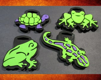 Paint Crafts - Lizard, Turtle, and 2 Frogs Foam Stamps for Painting! STAMP-037