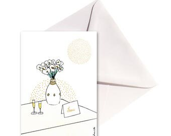 Carte pliée Merci or, enveloppe or.
