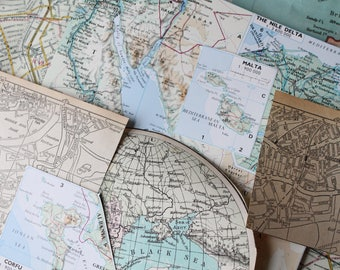 Map Paper Ephemera/ Scrapbooking  Collage set/ Junk Journal Paper Ephemera set/ Art Journal Inspiration kit/ Maps