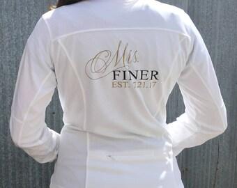 Personalized Mrs. (Name) Bridal Polyester Fleece Full Zip Track Jacket