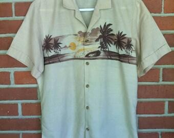 1980's Hawaiian shirt Men's M tan palm tree surf band