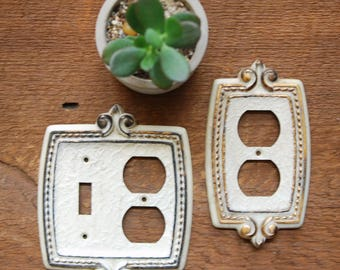 Vintage Outlet Switch Cover Plates, Matching Set, CSA Hardware Electrical