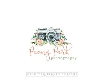 Photography Logo-Camera Logo-Peony Logo-Flower Logo-Watercolor Logo-FREE font change