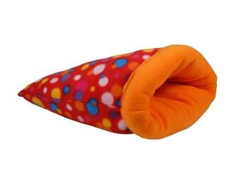 Hedgehog, Guinea Pig, Ferret, Rat Large Cozy Sack - Snuggle Sack - Multicolored and Orange Dots Fleece - small animal bed, cage bedding