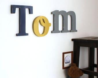 Grand prénom TOM tons bleu zinc, ocre et gris  personnalisé   - lettre géante _ mylittledecor _ chambre bébé